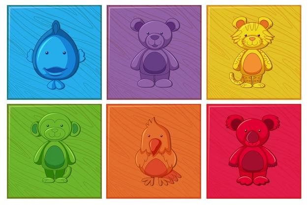 Set di personaggio dei cartoni animati in legno