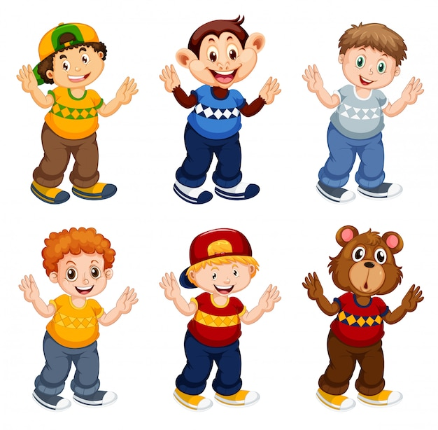 Set di personaggio dei cartoni animati maschile