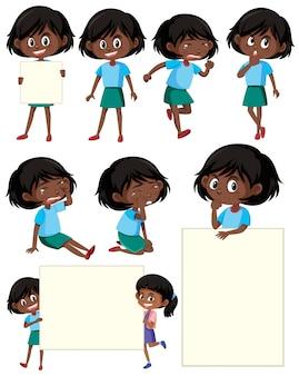 Set di personaggio dei cartoni animati ragazza nera