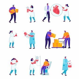 Set di personale di medicina piatta, personaggi dei lavoratori di riparazione stradale