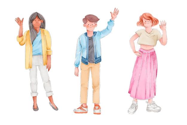 Set di persone agitando la mano