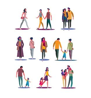 Set di persone che camminano