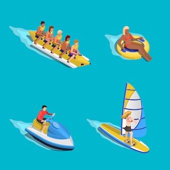 Set di persone che cavalcano l'acqua