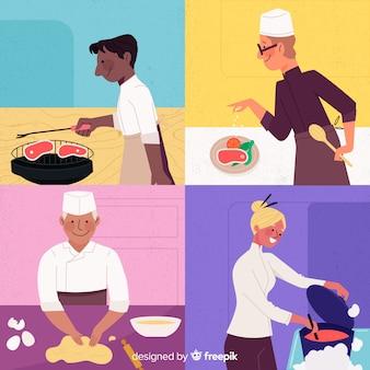 Set di persone che cucinano design piatto