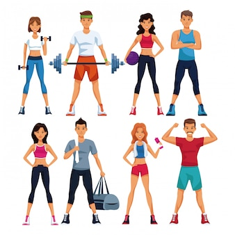 Set di persone di fitness con raccolta di elementi sportivi