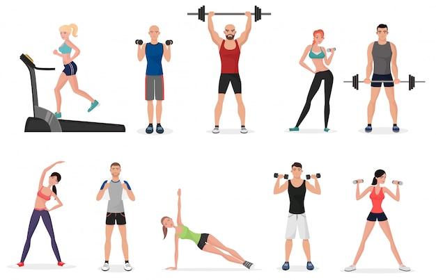 Set di persone di palestra fitness sportiva