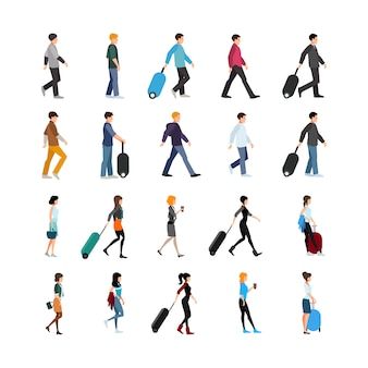 Set di persone e bagagli