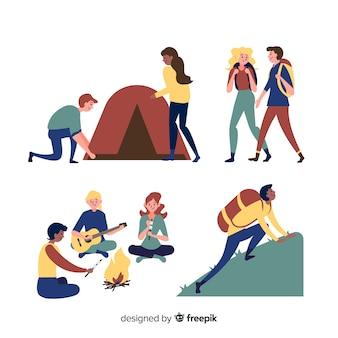 Set di persone in campeggio