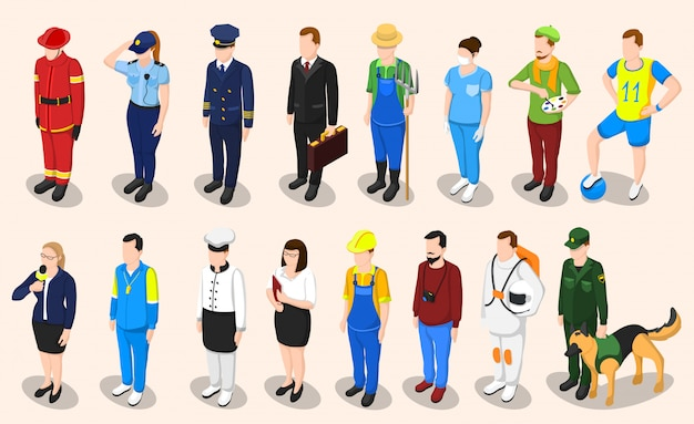 Set di persone isometriche professioni