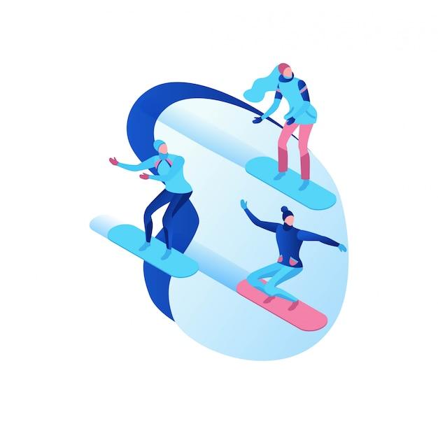Set di persone isometriche snowboard