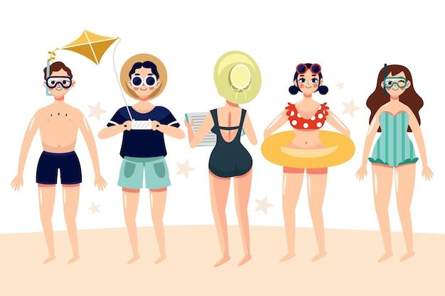 Set di persone sulla spiaggia
