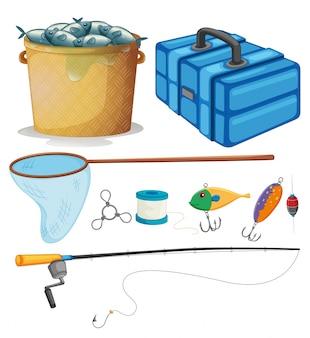 Set di pesca con pali di pesca e illustrazione di attrezzi