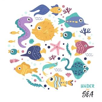 Set di pesci in un cerchio