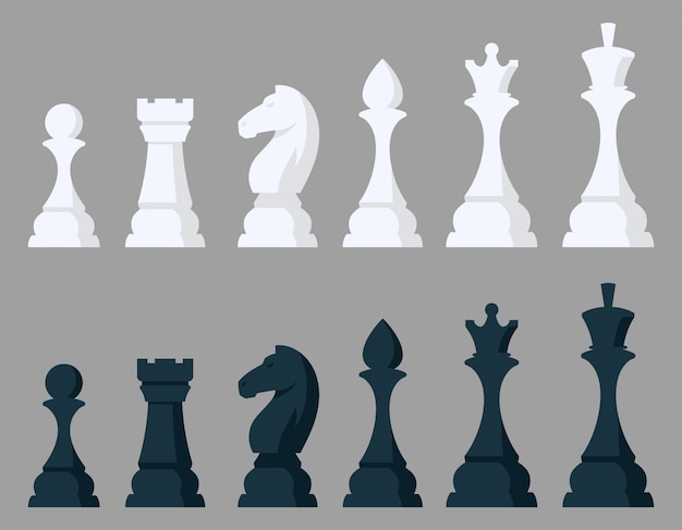 Set di pezzi degli scacchi. oggetti in bianco e nero in stile cartone animato.