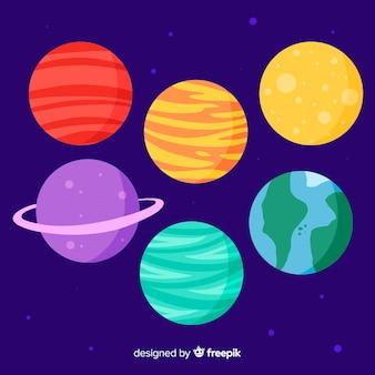 Set di pianeti disegnati a mano carino