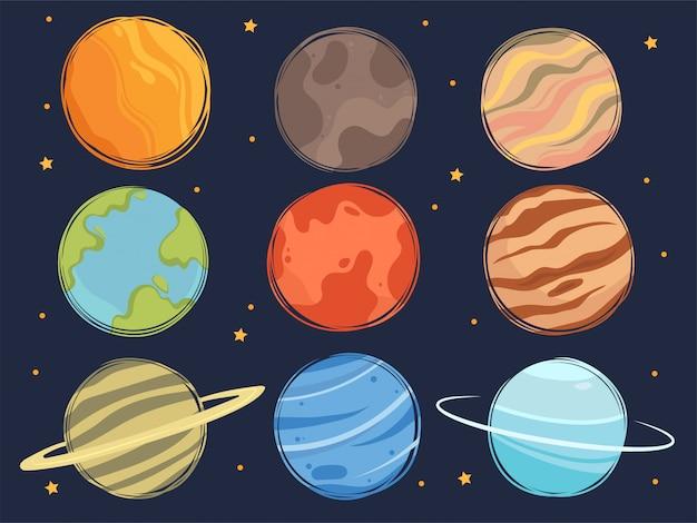 Set di pianeti spaziali dei cartoni animati. raccolta di graziosi pianeti e stelle del sistema solare.