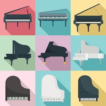 Set di pianoforte a coda, stile piatto