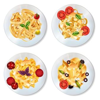 Set di piatti di pasta