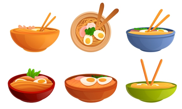 Set di piatti di ramen, stile cartoon