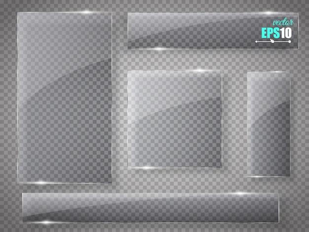 Set di piatti di vetro. striscioni di vetro su trasparente.