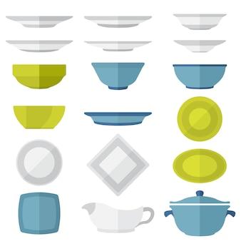 Set di piatti e piatti di stile piatto di colore vettoriale