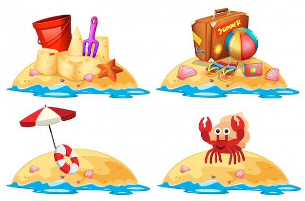 Set di piccole isole di sabbia