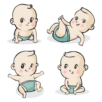 Set di piccoli bambini simpatico cartone animato