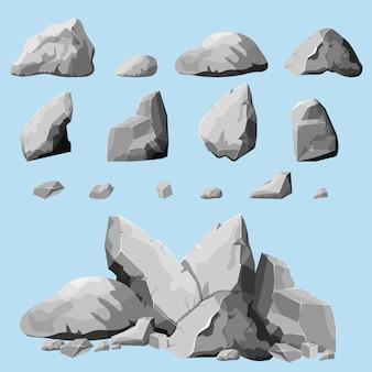 Set di pietre, elementi di roccia di diverse forme e sfumature di grigio, set di massi in stile cartone animato, pietre isometriche su sfondo bianco, puoi semplicemente raggruppare le rocce,