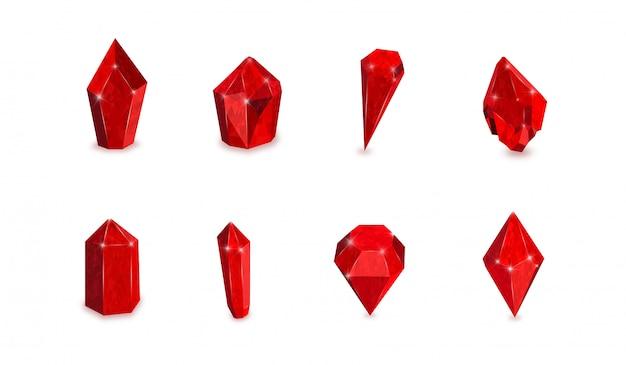 Set di pietre preziose rosse. illustrazione vettoriale di rubini