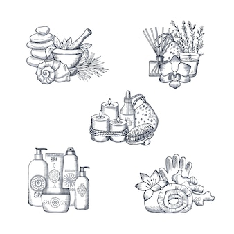 Set di pile di elementi spa disegnati a mano