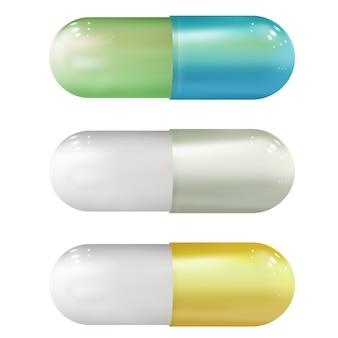 Set di pillole mediche realistiche. modello struttura di pillole, capsule.