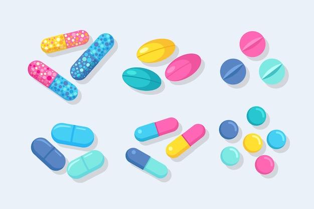 Set di pillole, medicine, farmaci. compressa antidolorifica, vitamina, antibiotici farmaceutici. assistenza sanitaria .