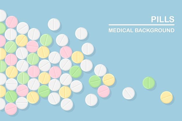 Set di pillole, medicine, farmaci. tablet antidolorifico, vitamina, antibiotici farmaceutici. background medico.