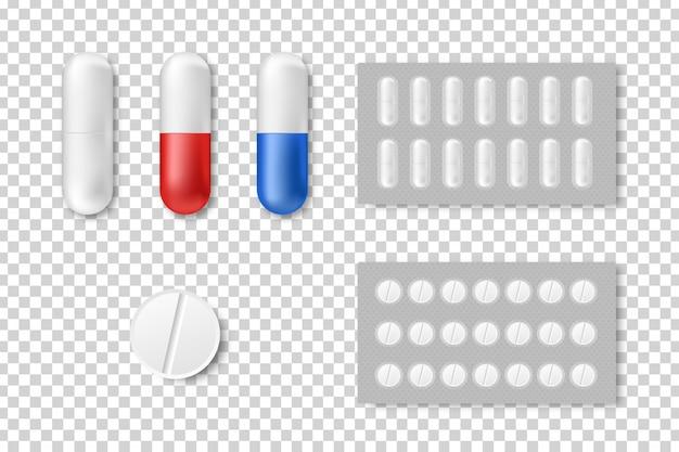 Set di pillole realistiche isolate per la decorazione e la copertura sullo sfondo trasparente.