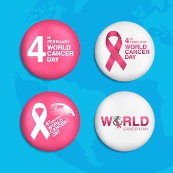 Set di pin del giorno del cancro del mondo del 4 febbraio