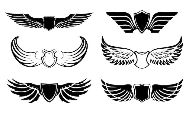 Set di pittogrammi di ali di piuma astratta