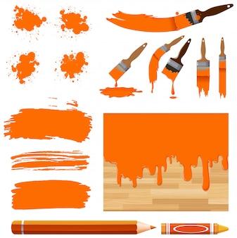 Set di pittura ad acquerello in arancione con attrezzature