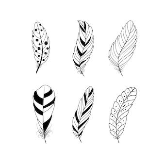 Set di piume. stile tribale boho.