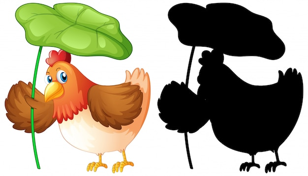 Set di pollo tenendo la foglia e la sua silhouette