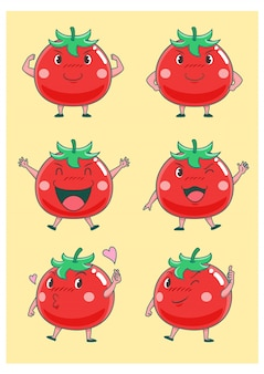 Set di pomodori simpatico cartone animato in diverse pose.