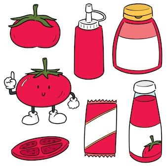 Set di pomodoro e salsa ketchup