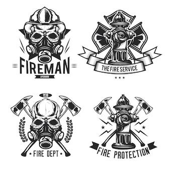 Set di pompiere elementi emblemi, etichette, distintivi, loghi.