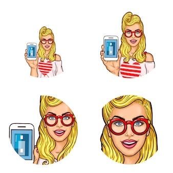 Set di pop art tondo icona avatar per gli utenti di social networking, blog, icone profilo