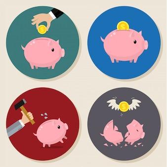 Set di porcellini salvadanaio