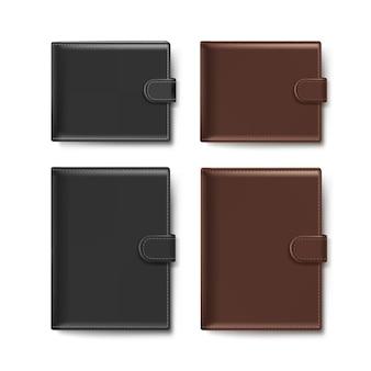 Set di portafogli in pelle nera e marrone