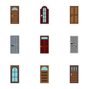 Set di porte, stile piatto