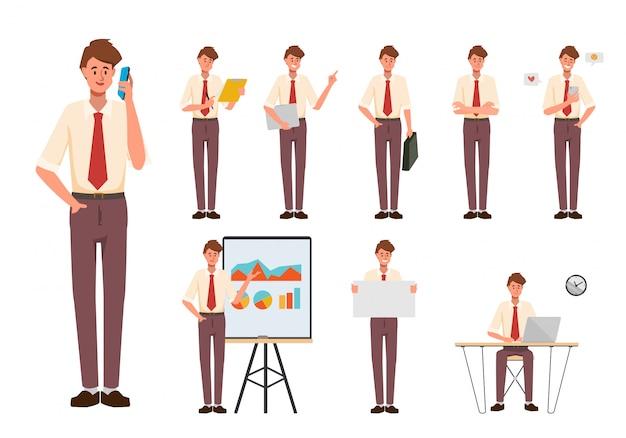 Set di posa di carattere creazione uomo d'affari con lavoro di occupazione in abito uniforme. stile di gente di affari del fumetto di chibi.