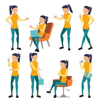 Set di pose donna ufficio. colori moderni e creativi. stile di vita di persona d'affari