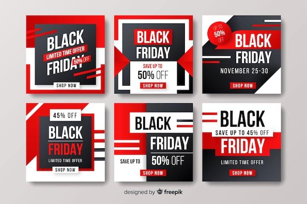 Set di post di instagram venerdì nero