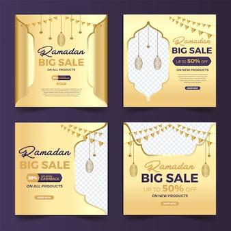 Set di post quadrati social media con design islamico grande vendita ramadan